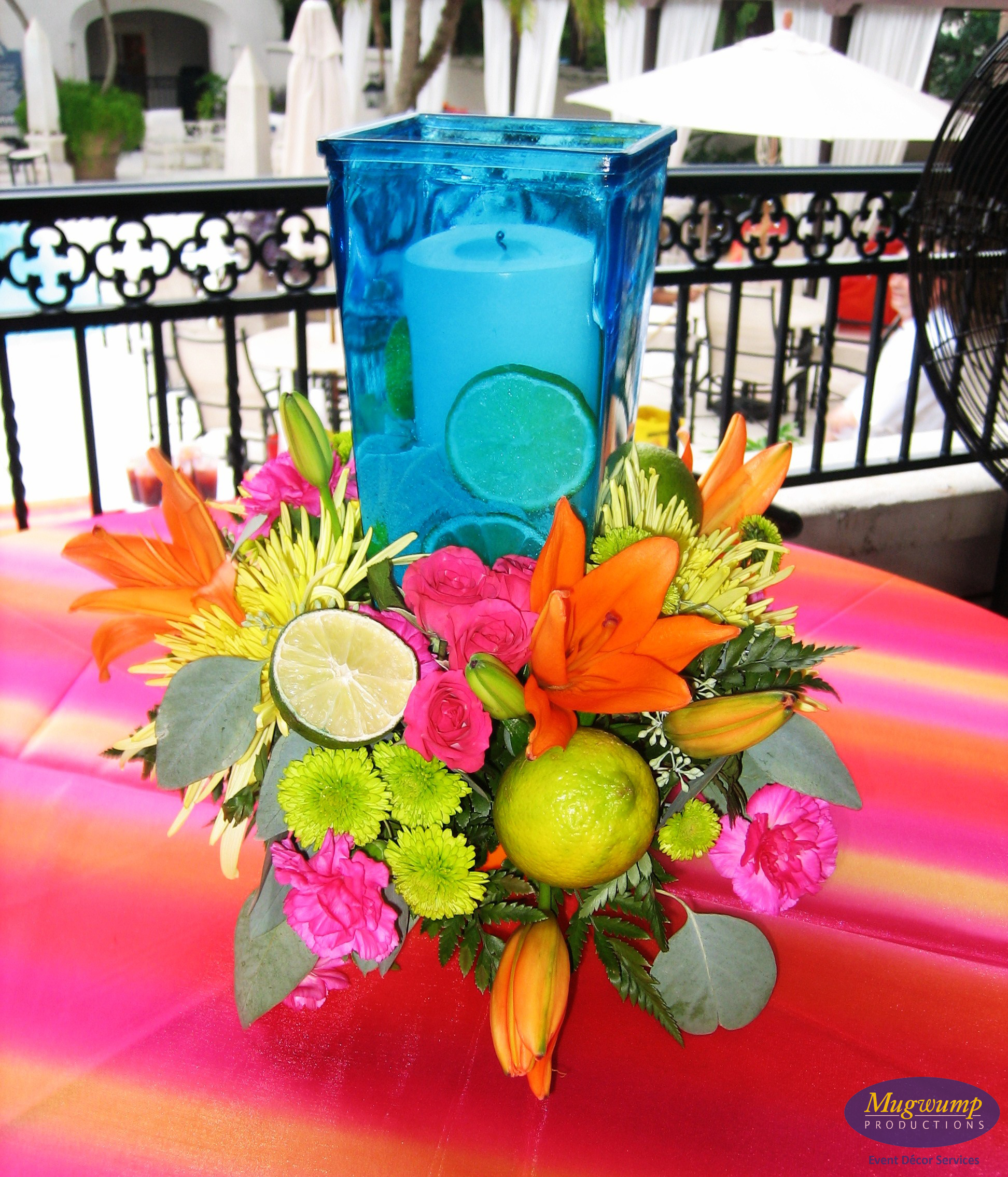 Tropical centerpieces and on